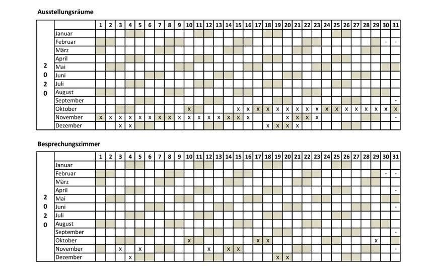 Belegungskalender Stand 201009