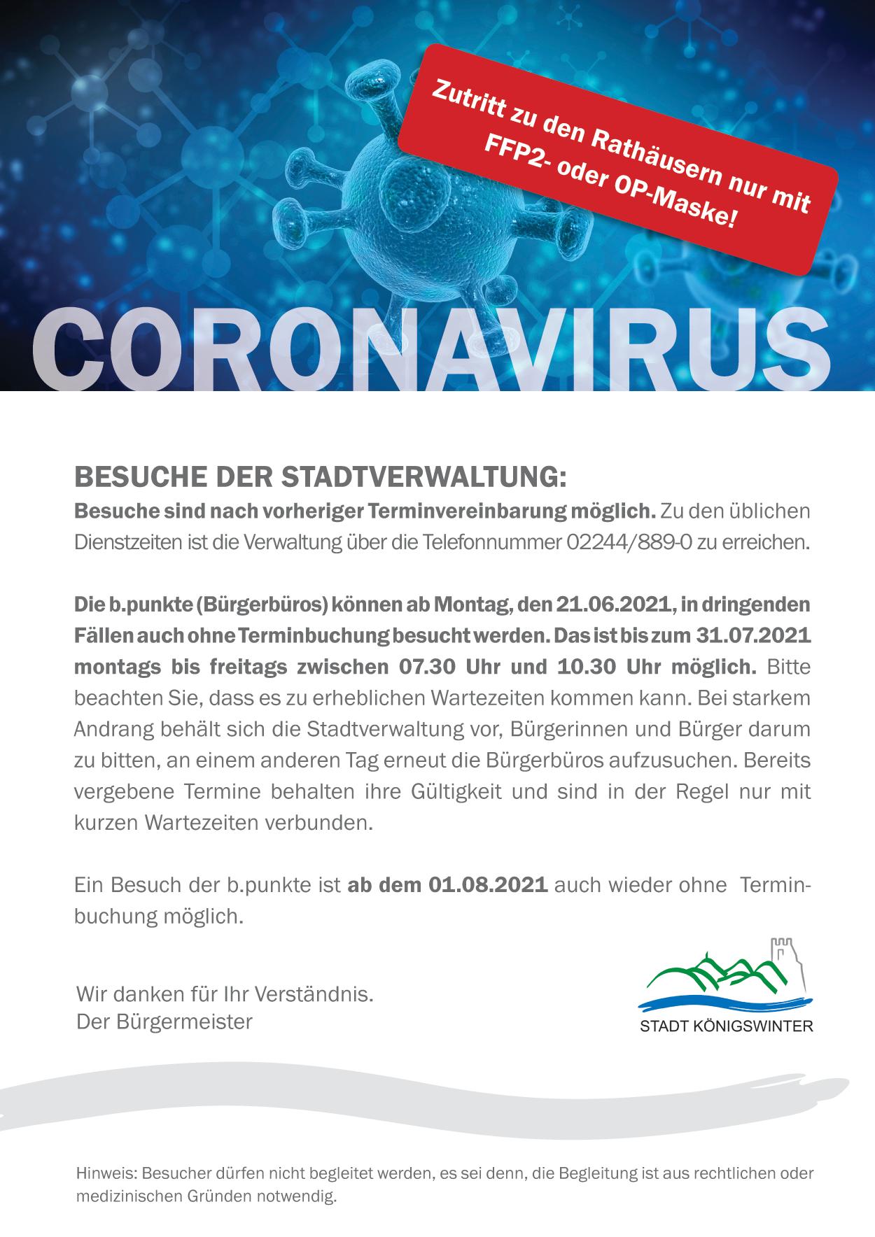 Besuche der Stadtverwaltung / b.punkte bis 31.07.21
