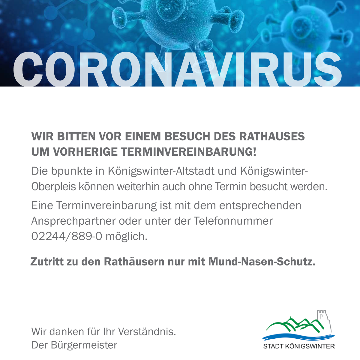 Besuch der Rathäuser in Königswinter: Terminvereinbarung erwünscht